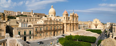 Panorama of the town of Noto on Italy Stock Images