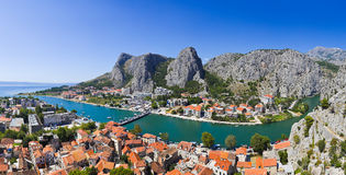 Panorama of town Omis in Croatia. Travel background royalty free stock images