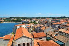Panorama of the town of Porec. stock images