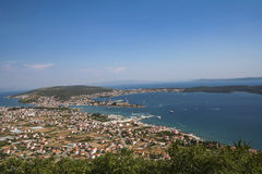 Panorama of town by the sea Stock Photos