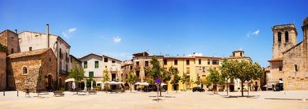 Panorama of town square. Besalu Stock Images