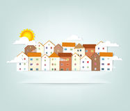 Panorama town. vector banner Royalty Free Stock Photo