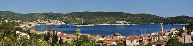 Panorama of the town of Vis Stock Images