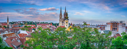 Panorama of town Zagreb in sunset. Stock Photo
