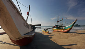 Traditional fishing boat on Sri Lanky, Ceylon, Asia Royalty Free Stock Image