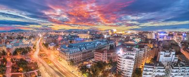 Panorama of traffic lights in the center of the capital city of Romania. stock image