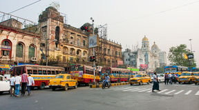 Panorama with traffic of taxi cars and different transport on oldcity road Royalty Free Stock Image