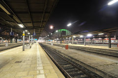 Train station by night Royalty Free Stock Images
