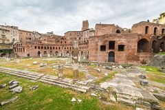Panorama of the Trajan's Market in Rome, Italy Stock Image