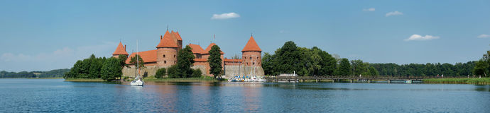 Panorama of Trakai castle Stock Images