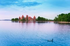 Panorama of Trakai castle and lake Galve Stock Images