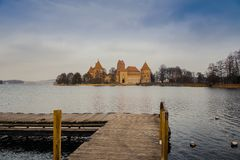Panorama of Trakai Castle from the pier, Lithuania royalty free stock images