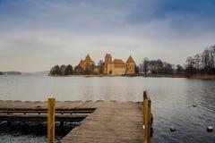 Panorama Trakai kasztel od mola, Lithuania obrazy royalty free
