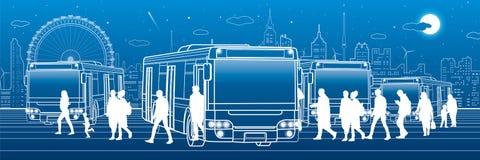 Panorama- trans. Passagerare skriver in och går ut till bussen Stadtransportinfrastruktur Nattstad på bakgrund, vektor de royaltyfri illustrationer