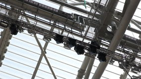 Panorama Transparent Roof with G Reception Amplifier on Stadium stock video footage