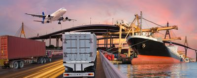 Panorama transport and logistic concept by truck boat plane royalty free stock photography