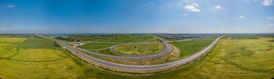 Panorama of transportation highway overpass, ringway, roundabout in Krasnodar, Russia royalty free stock image