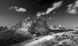 Panorama of Tre Cime Di Lavaredo, Italy Alps Royalty Free Stock Photography