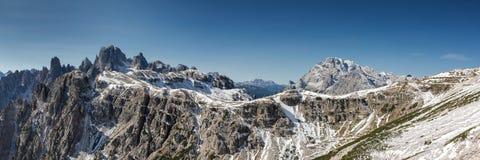 Panorama of Tre Cime di Lavaredo Stock Photo