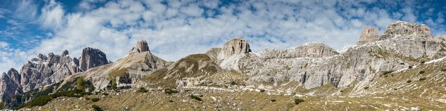 Panorama of Tre Cime di Lavaredo Royalty Free Stock Photography