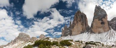 Panorama of Tre Cime di Lavaredo Stock Image