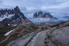 Panorama of Tre Cime and Monte Paterno at cloudy morning Royalty Free Stock Photos