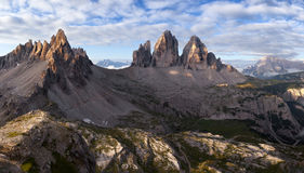 Panorama of Tre Cime and Monte Paterno Stock Photography