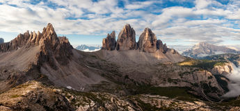 Panorama of Tre Cime and Monte Paterno Royalty Free Stock Photography