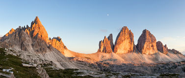 Panorama of Tre Cime and Monte Paterno at sunset Royalty Free Stock Photography