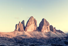 Panorama of Tre Cime at sunny sunset Stock Photography
