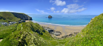 Panorama of Trebarwith Strand Stock Photography