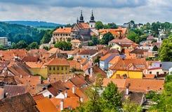 Panorama Trebic, UNESCO światowego dziedzictwa miejsce w republika czech obrazy royalty free