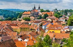 Panorama of Trebic, a UNESCO world heritage site in Czech Republic. Panorama of Trebic, a UNESCO world heritage site in Moravia, Czech Republic royalty free stock images