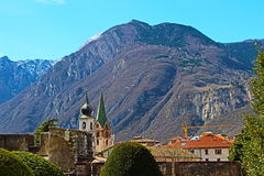 Panorama from Trento in Italy Stock Photo