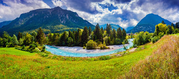 Panorama of the Triglav mountain range Royalty Free Stock Images