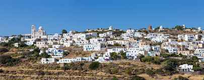 Panorama of Tripiti village, Milos island, Cyclades, Greece royalty free stock photography