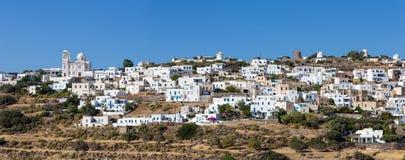 Panorama Tripiti wioska, Milos wyspy, Cyclades, Grecja fotografia royalty free