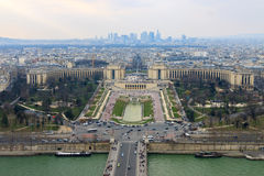 Panorama of the Trocadero and La Defense from the Eiffel Tower, Paris. France Stock Photos