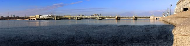 Panorama of the Troitsk bridge Stock Images