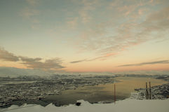 Panorama of Tromso at dusk Royalty Free Stock Photos