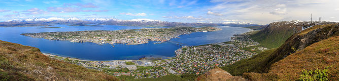 Panorama of Tromso. Panoramic view on Tromso from the Storsteinen mountain with the Fjellheisen cable car station Royalty Free Stock Image
