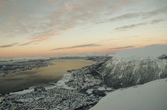Panorama of Tromso. At sunset Stock Images