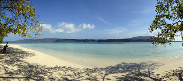 Panorama of a tropical beach. Panorama of a tropical sandy beach in andaman Stock Photos