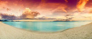 Panorama of tropical beach before Royalty Free Stock Images