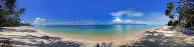 Panorama of the tropical beach. And ocean coastline Royalty Free Stock Photo