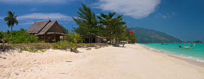 Panorama of the tropical beach. High resolution panoramic image of the tropical beach with white sand stock photography