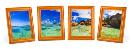 Panorama of tropical beach in frames Royalty Free Stock Images