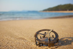 Panorama of tropical beach with old vintage sundial . Stock Photography