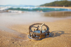 Panorama of tropical beach with old vintage sundial . Stock Photos