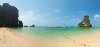 Panorama of tropical beach with rocks. Thailand, Krabi, Railay Stock Photos